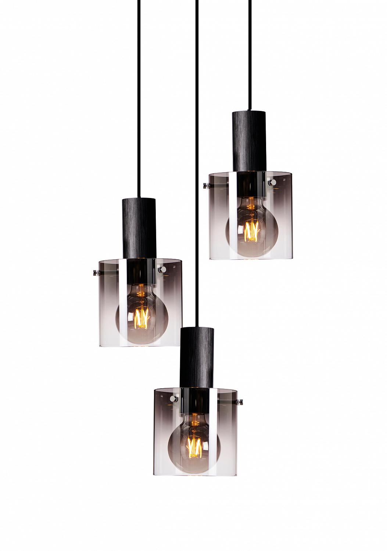 Roxy Takpendel Skinne 3 Lys Røykfarget Glass   Nordic LED